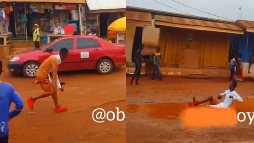 "Sarkodie's ""Hasta La Vista"" Song Makes Fan Dance In Muddy Water - Video"