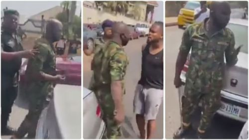 Footballer Confronts Military Man Who Slaps Him - Watch N See The Outcome