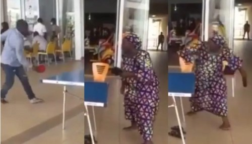 Barefooted Lady Beats Man Doing Pah Pah During Table Tennis Game - Video Below