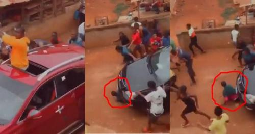 Car Runs Over A Man Who Was Busily Picking Money From The Ground - Sad Video Below
