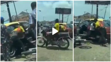 Photo of Okada Driver N Taxi Driver Fights Dirty In De Middle Of Heavy Traffic – Video Below