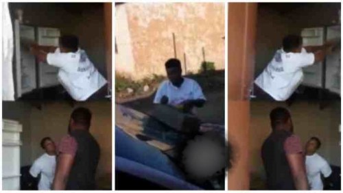 Girl Smash Boyfriends Car, Fridge N Television After She Caught Him Chopping Another Lady - Video