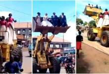 Photo of Newly Wedded Couple Celebrates After Wedding In A Loader Plus With Their Bridesmaids – Video