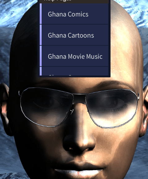 Ghana MovieMusic Mobile Center Menu List