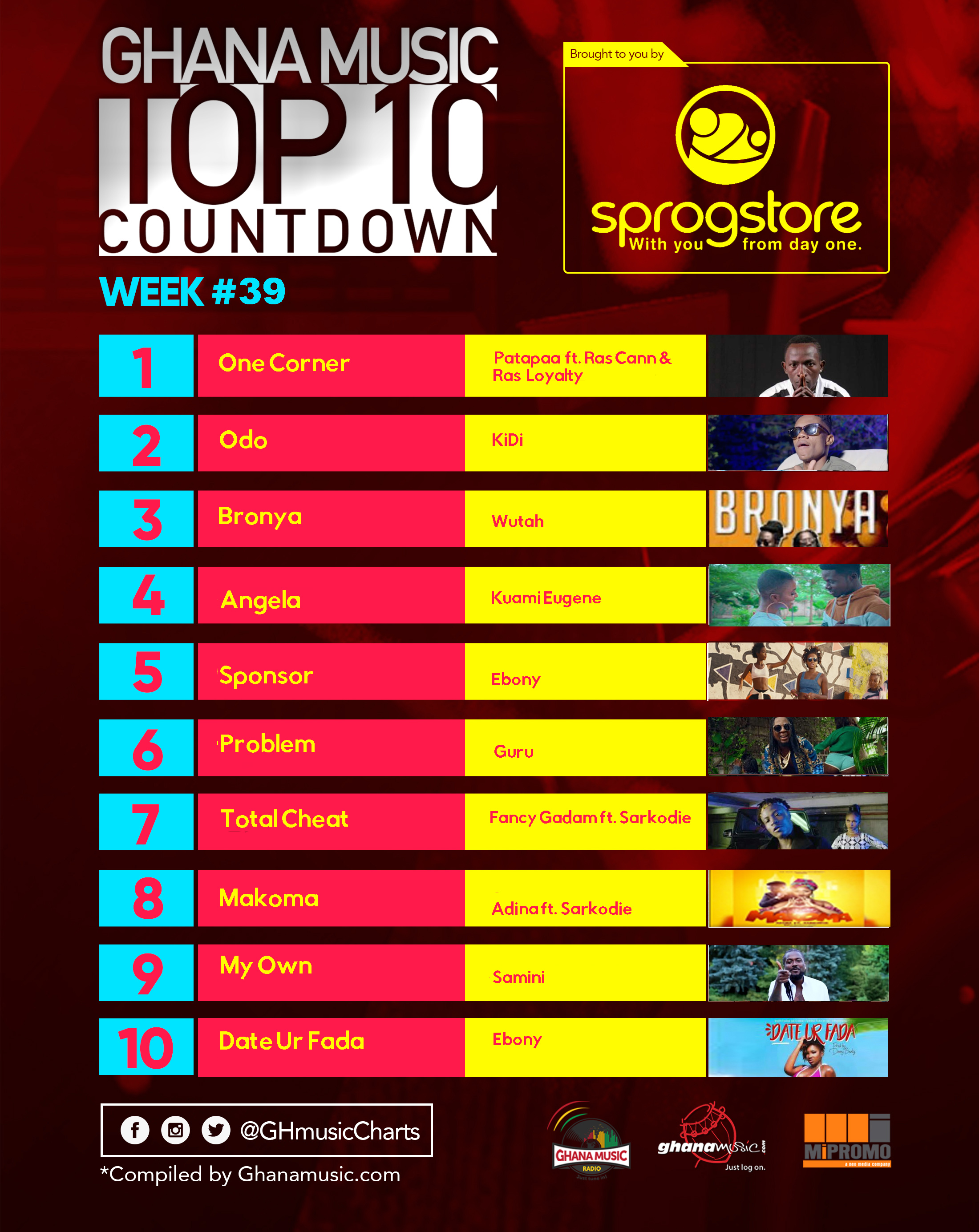 Week #39: Week ending Saturday, September 30th, 2017. Ghana Music Top 10 Countdown.