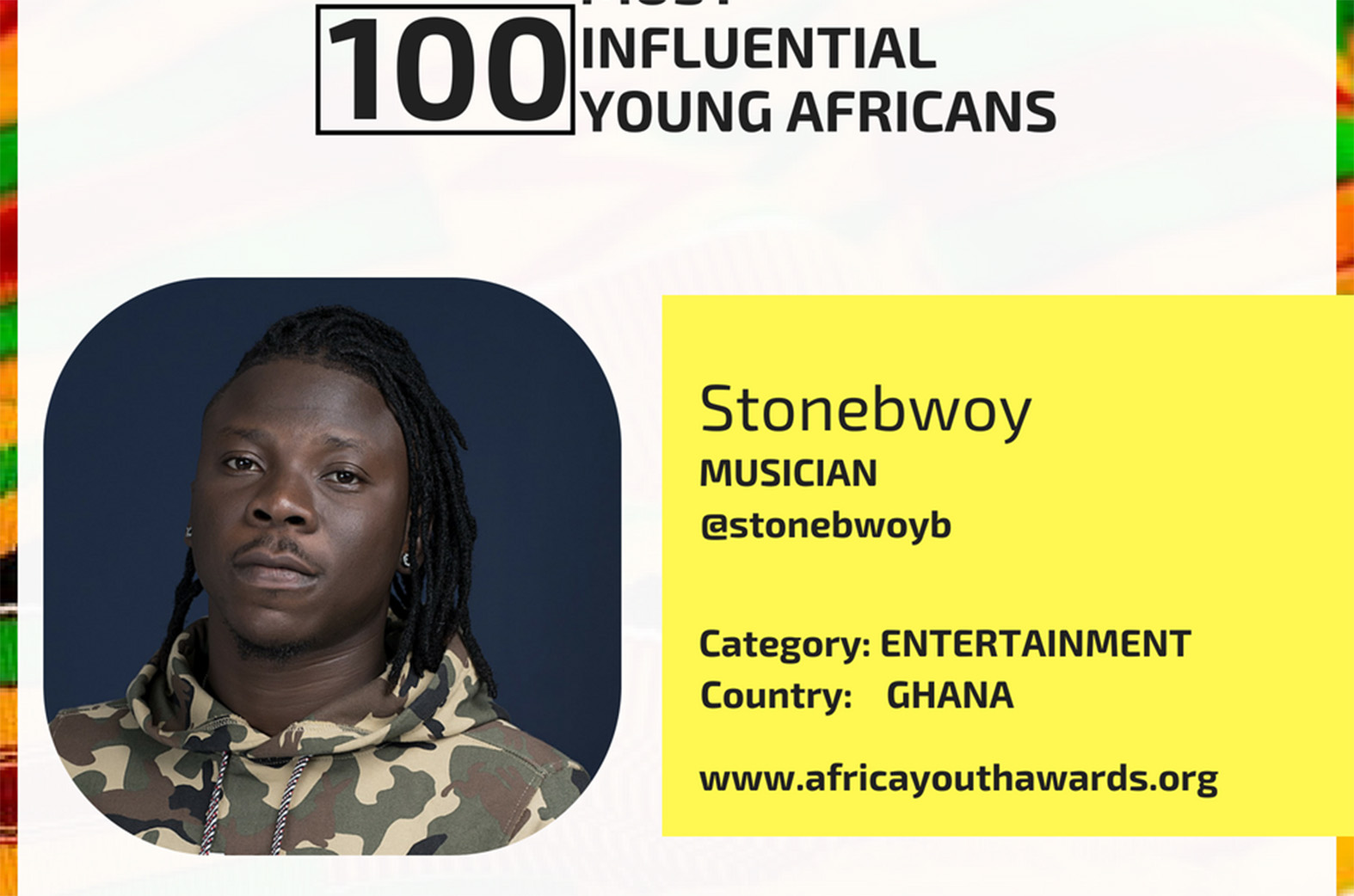 Stonebwoy makes list of 100 Most Influential Young Africans for 2018