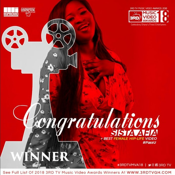 Sista Afia grabs award at first 3RD TV Music Video Awards