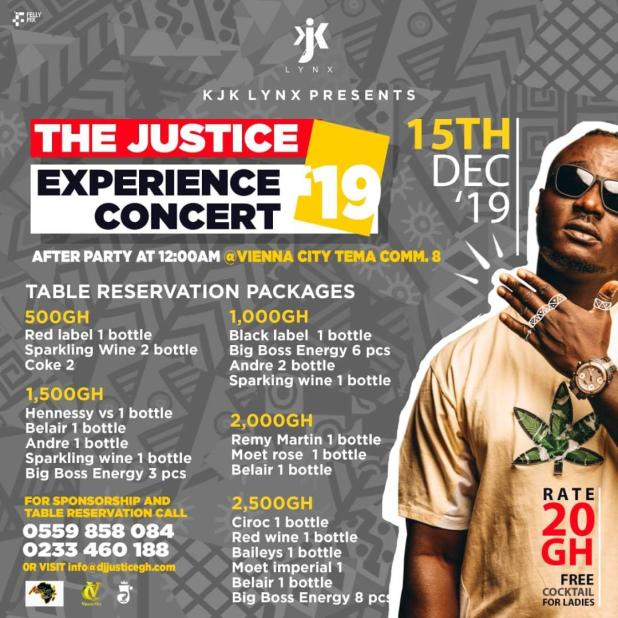 Pricelist Get ready for DJ Justice's The Justice Experience Concert