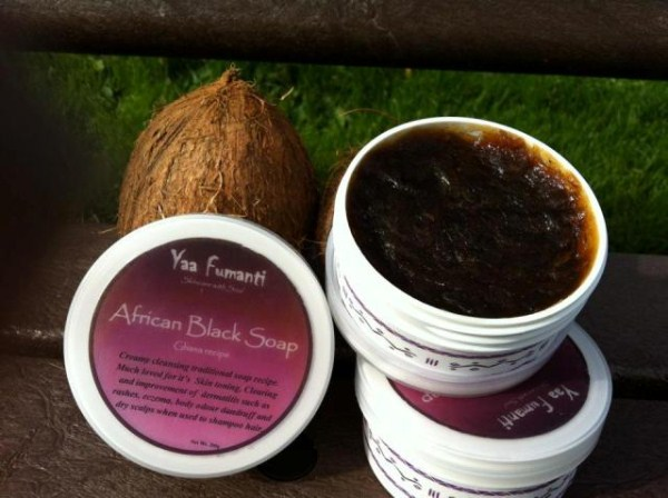 small container of African black soap