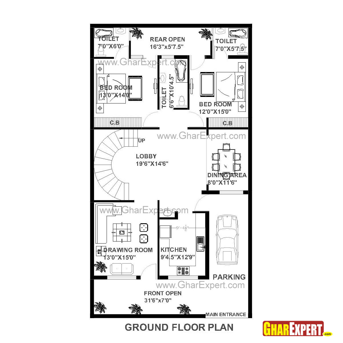 House Plan Of 30 Feet By 60 Feet Plot Squre Feet