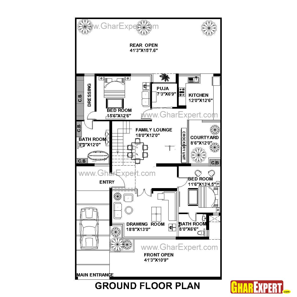 House Plan For 42 Feet By 75 Feet Plot Plot Size 350
