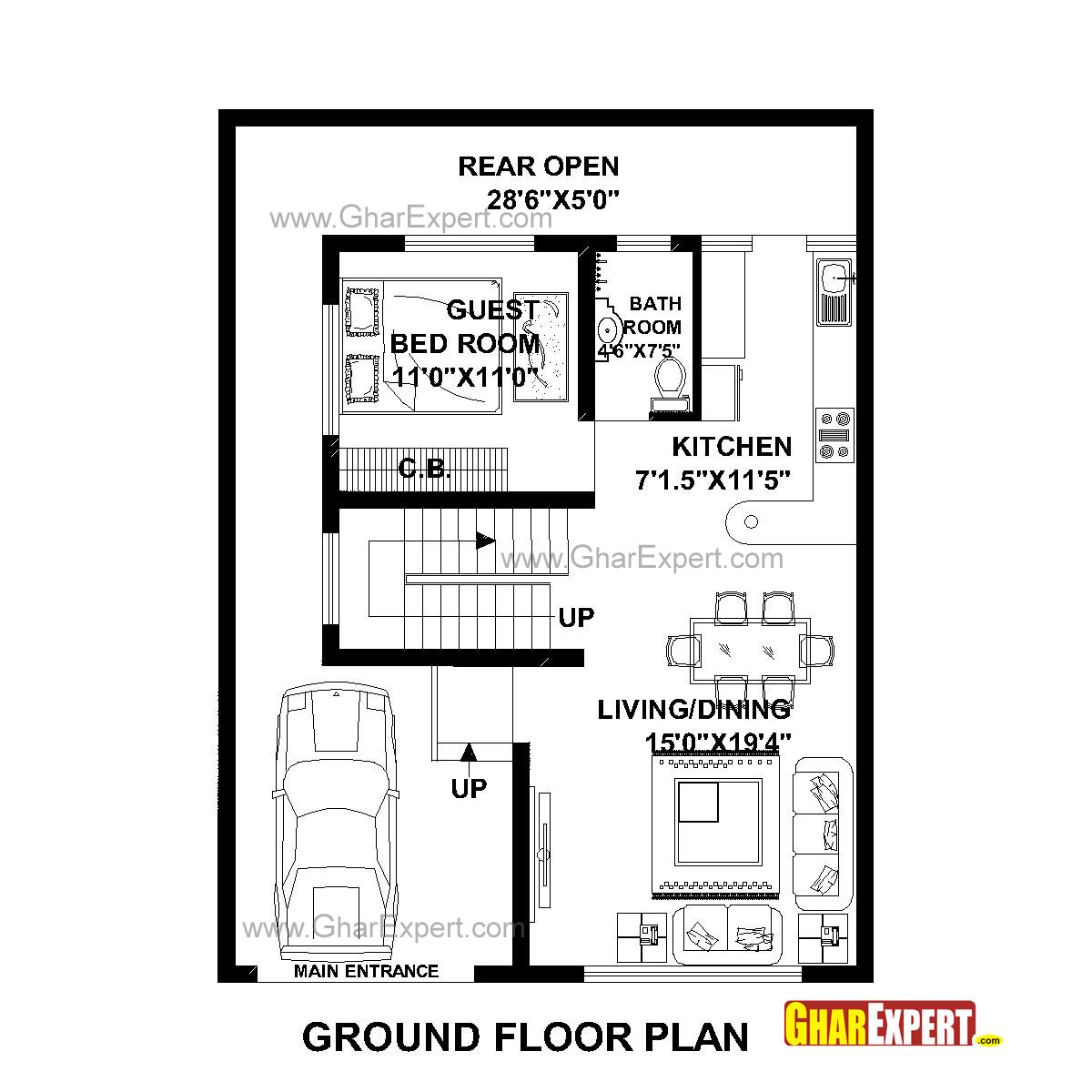 House Plan For 30 Feet By 40 Feet Plot Plot Size 133