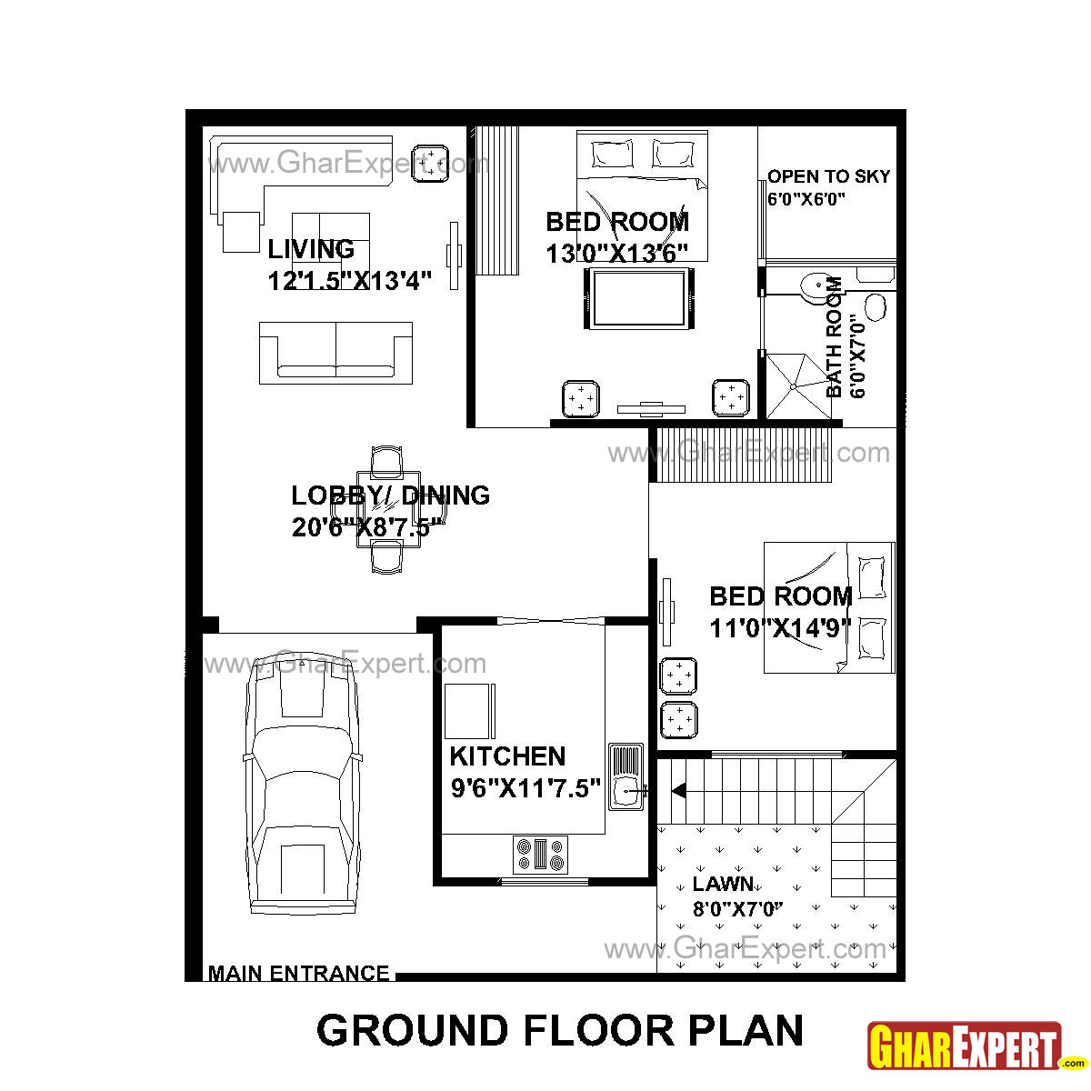 House Plan For 33 Feet By 40 Feet Plot Plot Size 147