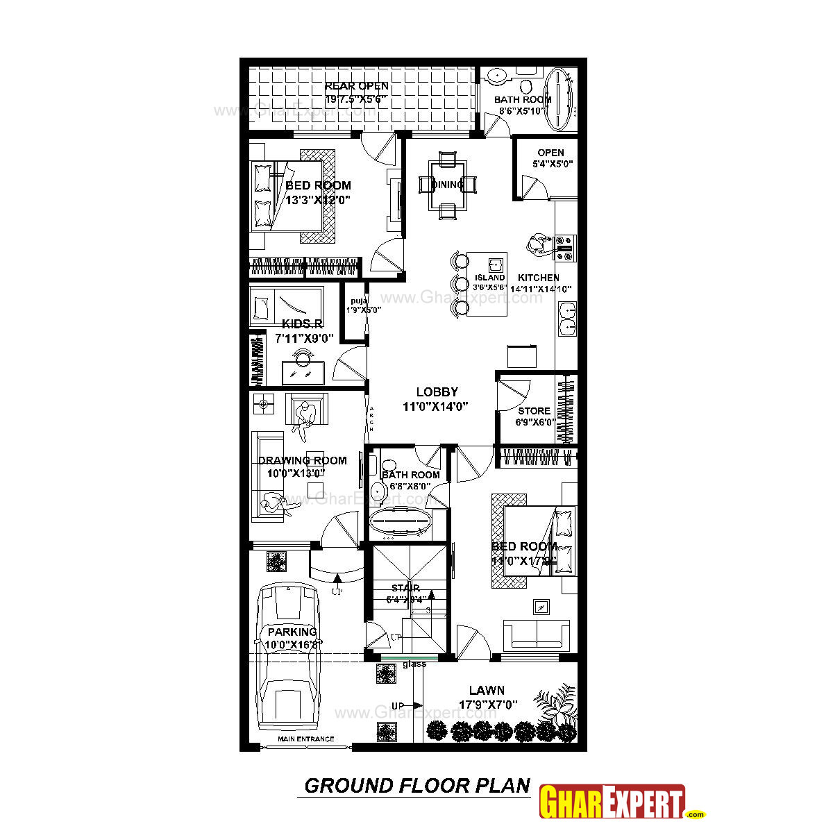 House Plan For 30 Feet By 60 Feet Plot Plot Size 200