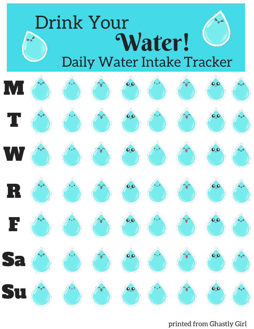 Free Printable Water Tracker PDF #watertracker #stayhydrated #drinkmorewater #healthliving #healthtracker #exercise #fitness