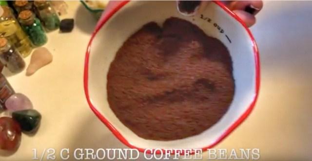 ground coffee for DIY coffee scrub