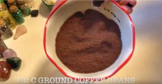 ground coffee for DIY coffee scrub