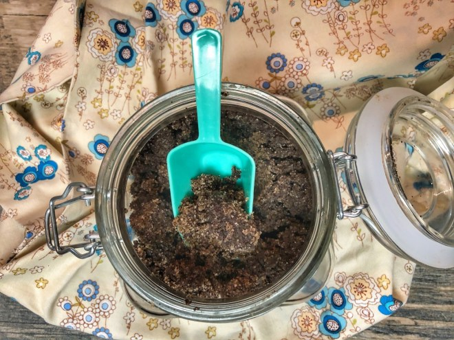 overhead view of a DIY coffee scrub