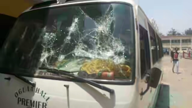 Oguaa Bus Destroyed By The Rioters