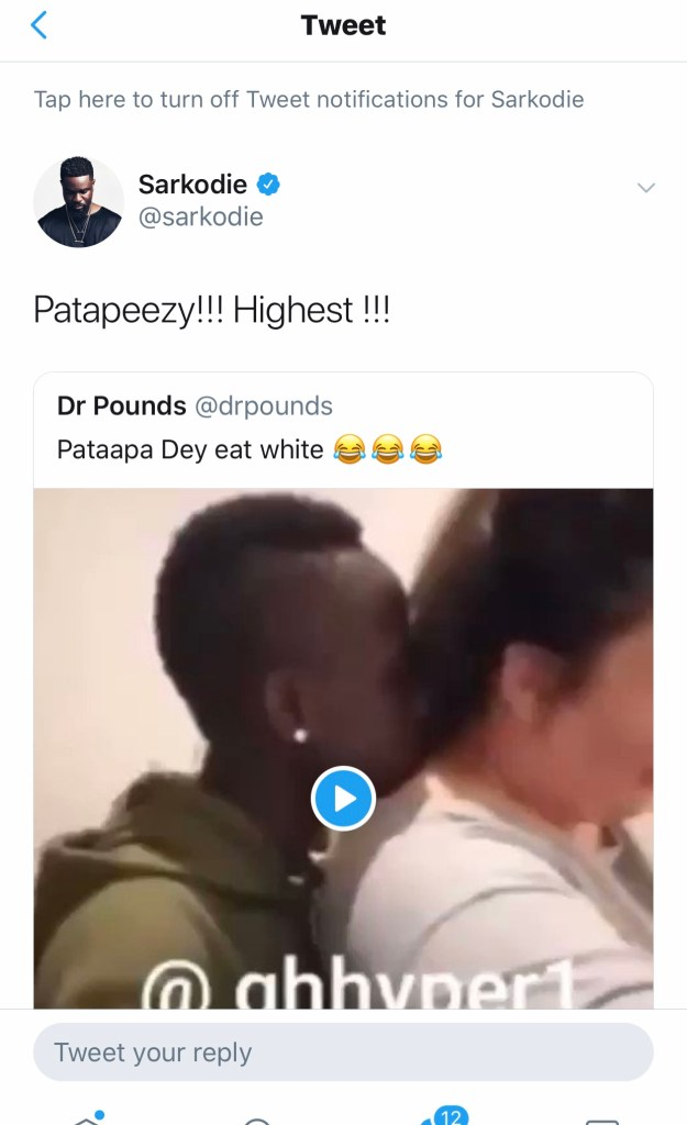 53F19924 D820 4FD7 9190 AA4C32EDC6F5 - Sarkodie Hails Patapaa For Falling In Love With White Woman (+Screenshot)