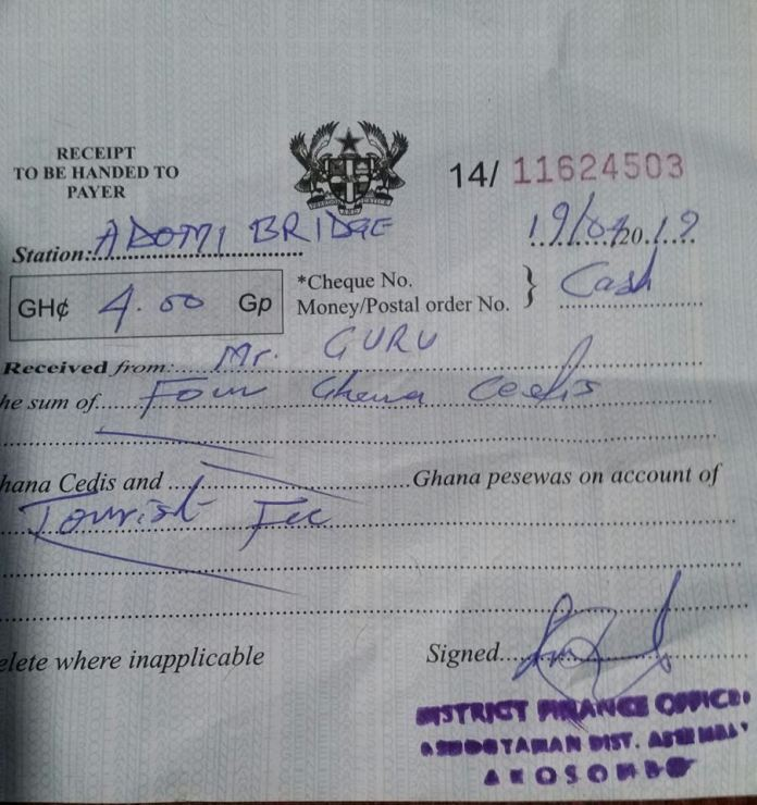 Guru Receipt - Guru Pays GHS4 Before He Was Allowed To Take A Picture On Adomi Bridge