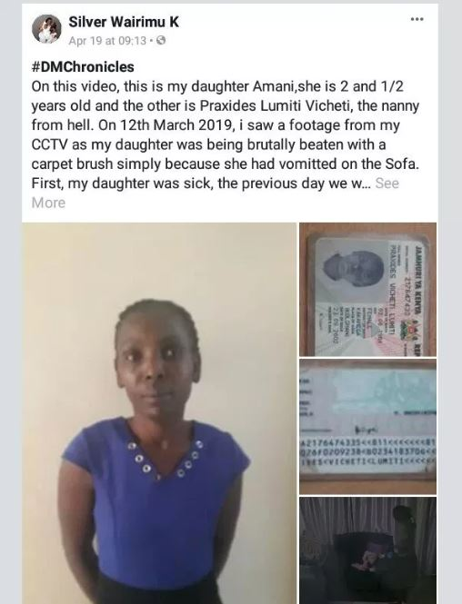 nanny caught on CCTV 1 - Nanny caught on CCTV beating a sick child with a carpet brush because she vomited on the sofa (VIDEO)