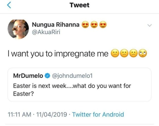 riri - 'Bang Me & Give Me A Baby As Easter Gift'- Lady BEGS John Dumelo