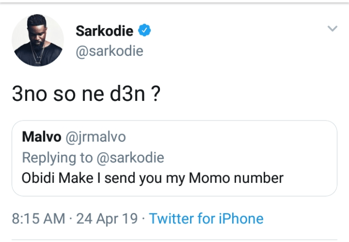 sarkd - Sarkodie's Fan Ask Him For Money On Social Media- Here's What He Told Me