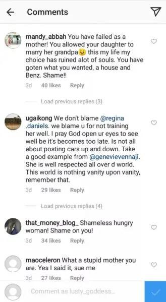 regina daniels - Regina Daniels' mother blasted on social media over her daughter's marriage to Ned Nwoko (Screenshots)