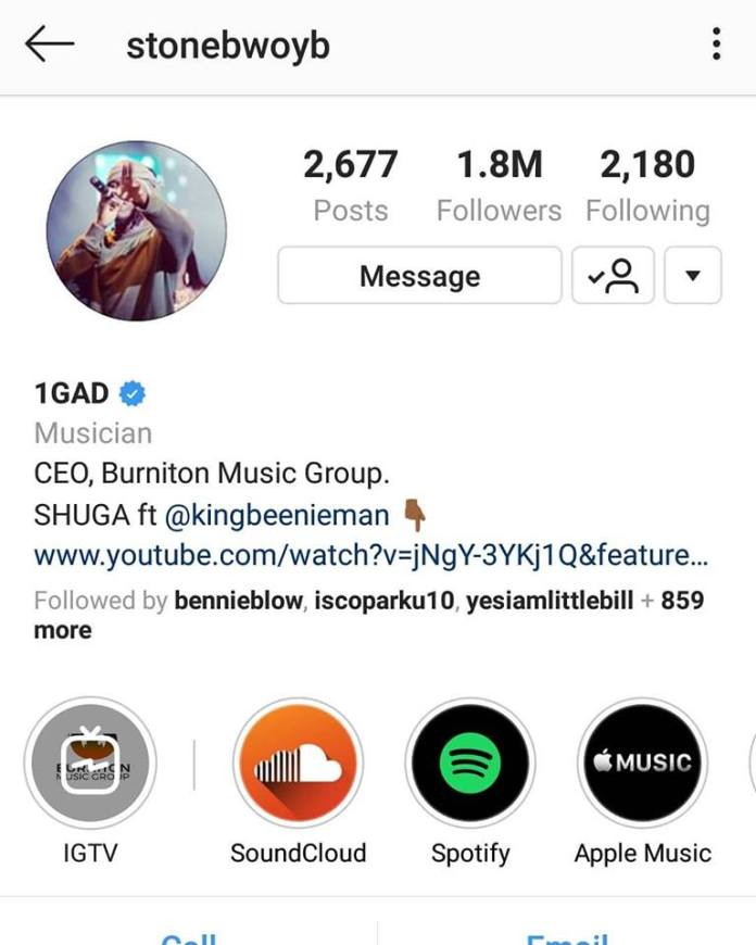 stonegod 1 - Stonebwoy's Instagram & Twitter Followers Shoot Up After VGMAs Fracas- See The Statistics