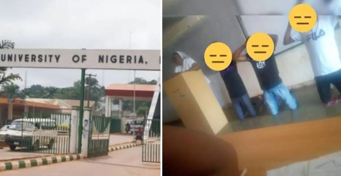 university of nigeria - Female lecturer orders students to kneel down and raise their hands for not sweeping lecture hall (Photo)
