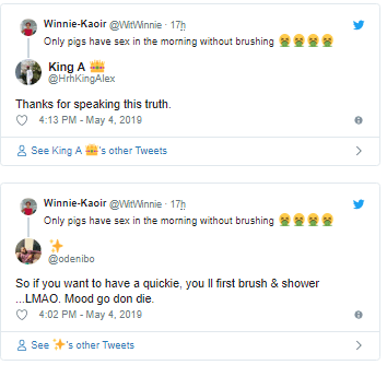 winni3 - 'It's Only Pigs Who Have Sekz In The Morning Without Brushing' – Lady Rants On Social Media