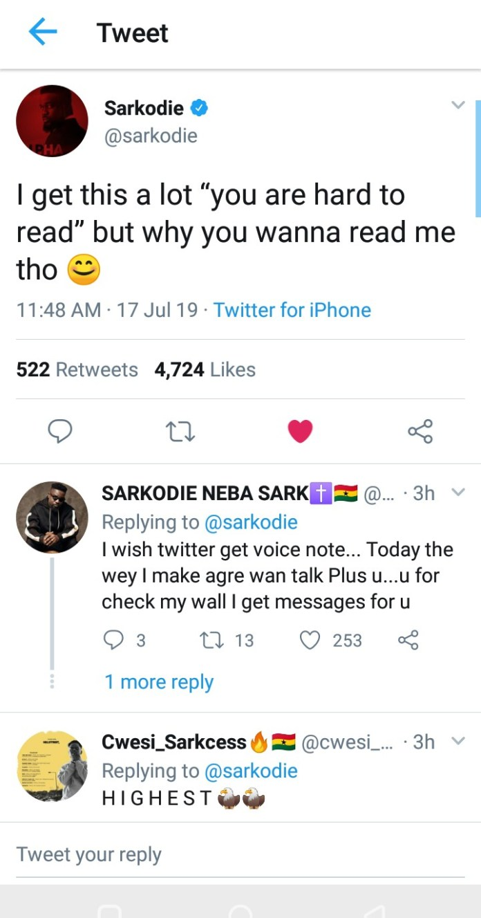 IMG 20190717 161532 - People always tell me I'm hard to read, but why would anyone want to read me though? – Sarkodie Quizzes(screenshot)