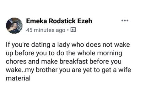 woman 1 - 'A Wife Material Is The One Who Wakes Up Early To Do All House Chores'- Social Media User