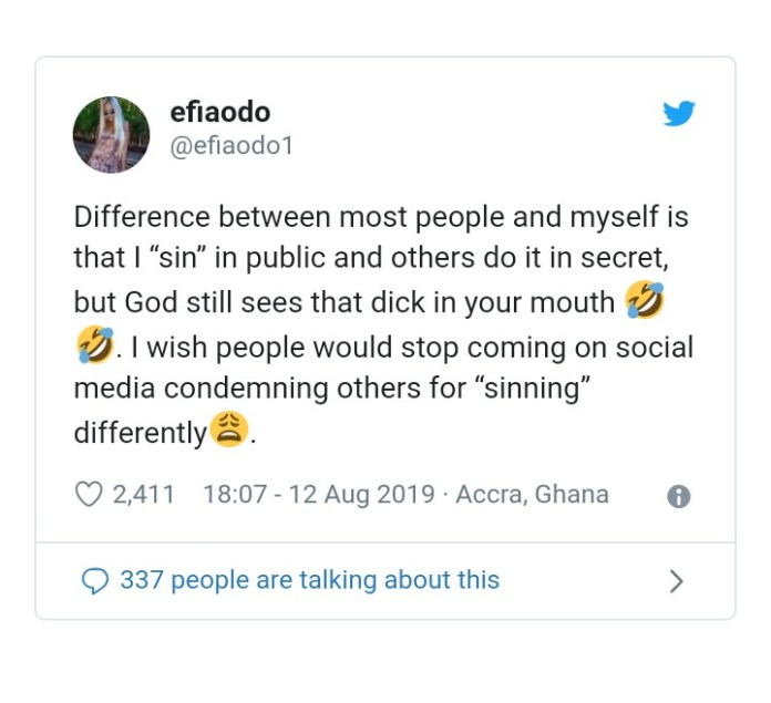 IMG 20190813 201454 - The Difference Between Other Sinners And Me Is That I Don't Hide My Sin From The Public – Efia Odo Claims ( Screenshot)
