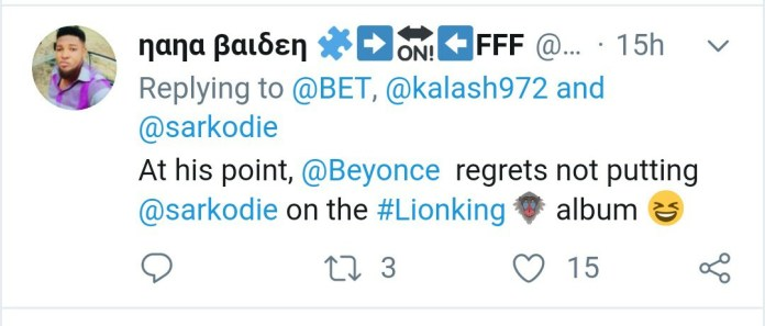 'Beyonce Has Regretted Not Putting Sarkodie On The Lion King Album' – Twitter User 1