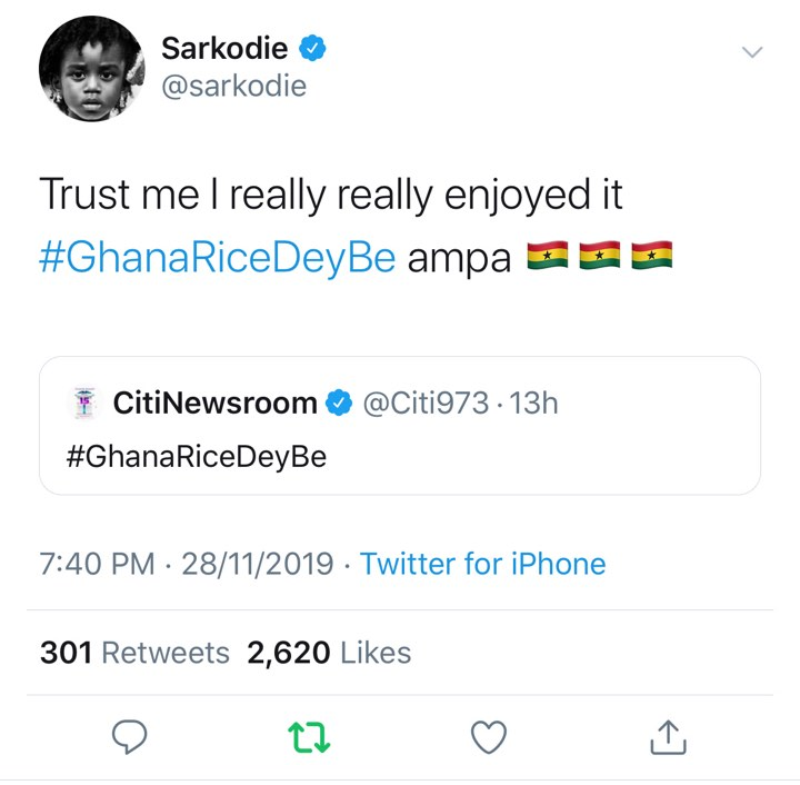 Sarkodie Endorses Ghana's Local Rice, Announces That He's Made It His First Choice - EOnlineGH.Com