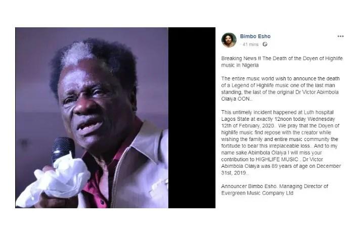 JUST IN: Nigerian Highlife Music Icon, Victor Olaiya, Dies