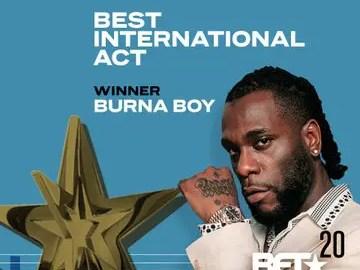 Burna Boy Wins 2020 BET 'Best International Act' Award (Video)