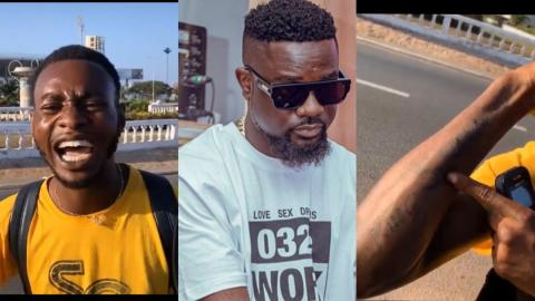 Sarkodie Humbled After Meeting An Obsessed Fan Who Has Tattooed His Name All Over His Arms