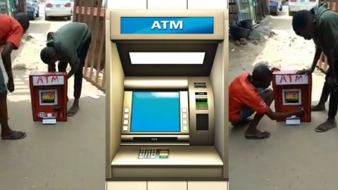 Young boy manufactures ATM that dispenses cash and operates with a card