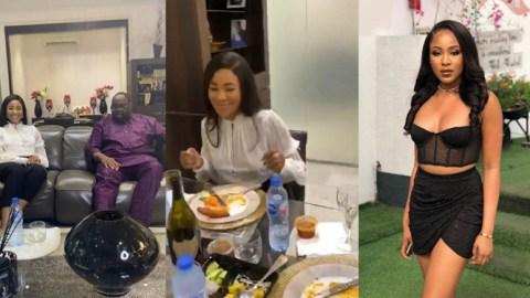 Erica Dragged On The Internet For Not Wearing A Bra During Her Visit To Dele Momodu's House (Video)