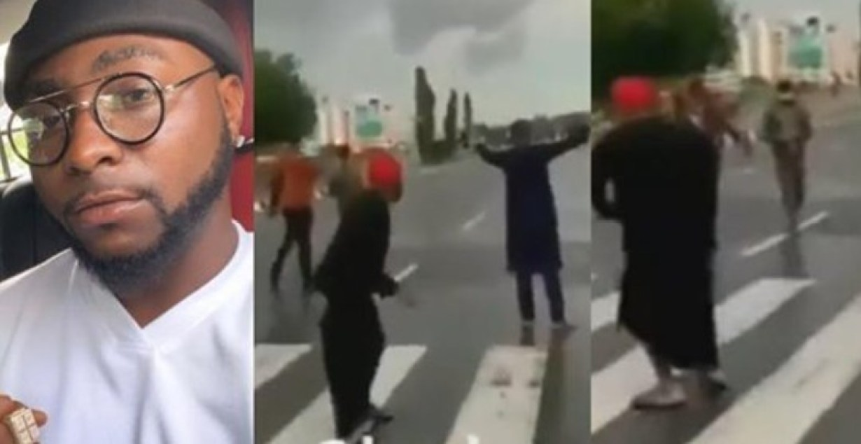 #EndSARS: Moment Davido tried to run away as police officers threatened to shoot (Video)