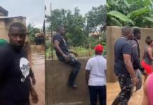 John Dumelo walks in floodwaters to sympathize with victims, promises to fix the problem when voted to power