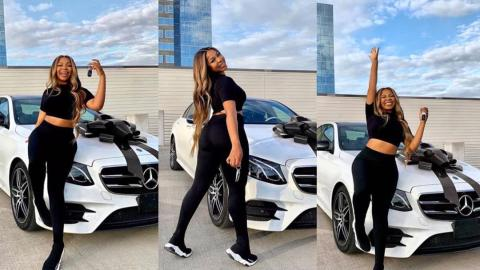 """I deserve good things"" – Lady celebrates after she bought herself her dream car, 2020 Mercedes Benz E350 (Photos)"