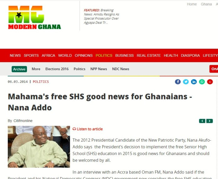 Fact-Check: President Akufo-Addo congratulated Mahama in 2014 for implementing Free SHS [Details]