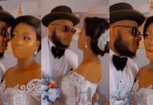 """""""Just do as if you want to kiss but don't kiss"""" – Moment bride denies groom a kiss in order to protect her makeup [Video]"""