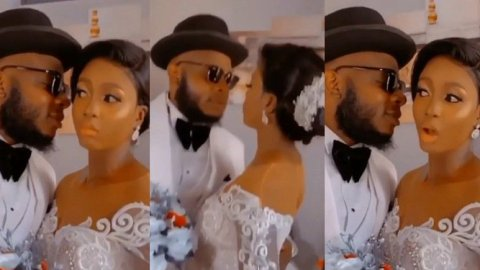 """Just do as if you want to kiss but don't kiss"" – Moment bride denies groom a kiss in order to protect her makeup [Video]"