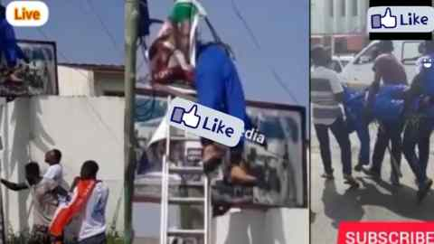 Young Man Dies On An Electric Pole While Fixing Party Flag