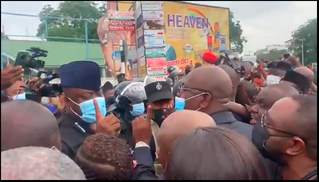 NDC MPs and police engage in near scuffle as they are prevented from submitting petition to EC [Video]